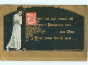Divided-Back PRETTY WOMAN Risque Interest Postcard AA7797