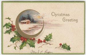 Ellen CLAPSADDLE: CHRISTMAS , Holly , 1907