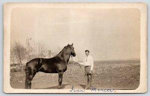 Real Photo Postcard~Ivan Mercer~Man with Horse~Farm Windmill~Good Likeness~c1915