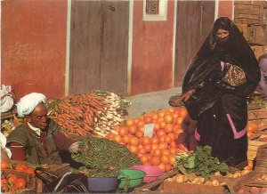 Maroc market fruits vegetables woman man seller postcard