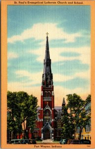 Fort Wayne, Indiana, IN, Church School Vintage Linen UNPOSTED Postcard