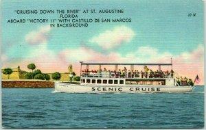 1940s St. Augustine, Florida Postcard VICTORY II Tour Boat Tichnor Linen