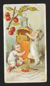 VICTORIAN TRADE CARD Ayer's Cherry Pectoral Kids Big Bottle