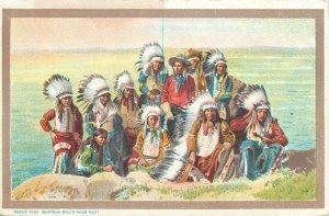 Native American History Postcard Buffalo Bill Wild West Sioux Indian chiefs