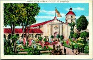 1939 GGIE San Francisco World's Fair Postcard Mission Trails Building Linen
