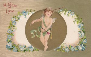 VALENTINE´S DAY: A token of Love, Cuoid with bow and arrows, Forget-Me-Not F...
