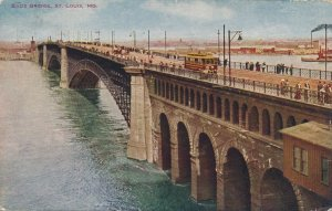 St Louis MO, Missouri - Eads Bridge over Mississippi River - pm 1908 - DB