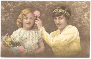 Mother & Daughter with flowers , 10s