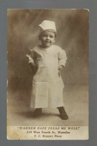 Waterloo IOWA RP c1910 ADVERTISING Wagner Cafe CHILD COOK Apron Hat CUTE!