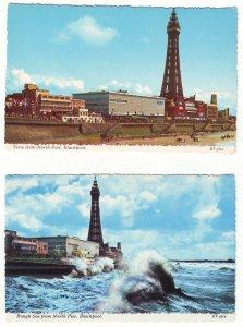 P1491 2 vintage unused postcard promemade & cliffs tower blackpool england
