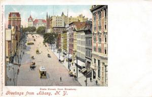 Albany New York~State Street @ Broadway~Keelers~Pedestrians~Trolley~c1905 Pc
