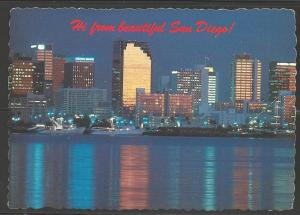 1983 California, San Diego skyline, mailed to Czechoslovakia