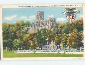 Unused Linen PARADE GROUNDS AT MILITARY ACADEMY West Point New York NY J8224-12