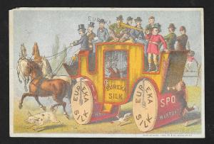 VICTORIAN TRADE CARD Eureka Silk Men on a Coach Fantasy