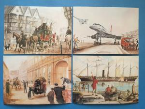 set of 4 Cards Bristol Head Post Office Mail Carriers Built in Bristol from 1830