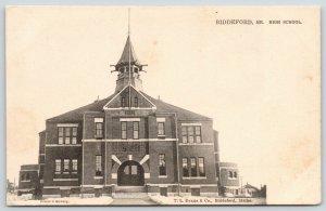 Biddeford Maine~High School~Houses Behind~c1905 B&W TUCK Postcard
