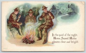 WWI Patriotic~Quiet of Night~Soldiers Fiddle by Firelight~Home Gleams Clear~1918
