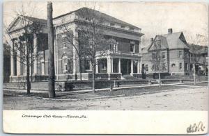 Warren, Pennsylvania Postcard Conewango Club House Street View 1900s Undivided