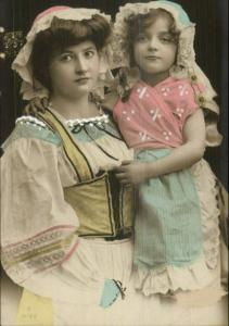 Beautiful Woman & Daughter Lace Clothing c1910 Tinted Real Photo Postcard