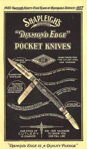 St Louis MO Shapleigh's Rare Diamond Edge Pocket Knives 1937 Postal Card