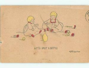 Pre-Linen comic signed BABIES WANT TO SPLIT A MILK BOTTLE k3679