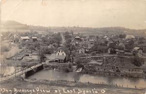 E79/ East Sparta Ohio RPPC Postcard Stark County Leiter Birdseye 1913 Bridge 4