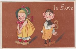 Dutch Kids with pretzel, IN LOVE , PU-1909
