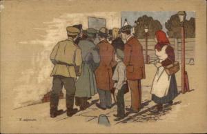 Russia Russian People on Street THE POSTER c1915 Postcard - Propaganda?