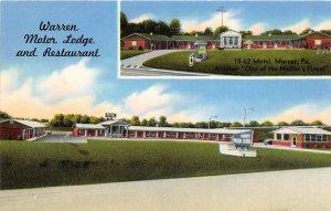 Newton Falls Ohio c1957 Postcard Warren Motor Lodge & Restaurant