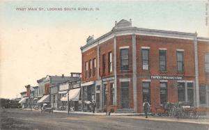 South Aurelia Iowa~West Main Street~Bank~Ice Cream~Barber~Baseball 23-8~1910