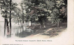 Battle Ground, Campbell's Island, Moline, Illinois, Very Early Postcard, Unused