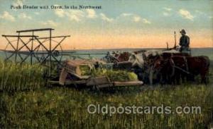 Push Header with Oxen, Northwest Farming Postcard Post Card Unused
