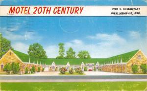 West Memphis Arkansas 1959 Postcard 20th Century Motel near Tennessee