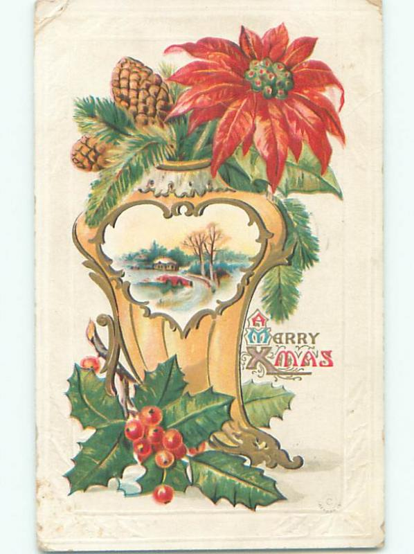 Pre-Linen christmas POINSETTIA FLOWER WITH PINECONES AND HOLLY k1038