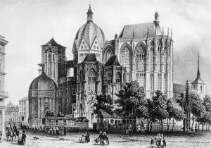 Bad Aachen Cathedral Dom von Westen Stahlstich von L. Rohbock