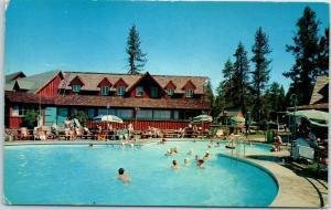 Big Bear City, California Postcard PETER PAN WOODLAND CLUB Pool Scene c1950s