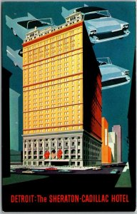 Detroit, Michigan Postcard SHERATON - CADILLAC HOTEL Artist's View / Cars - 1962