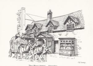 The Bear Hotel Alcester Post Office Board Pub Drawing Warwickshire Postcard