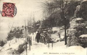 CPA Paris 18e (Dep. 75) La Butte en hiver (59707)