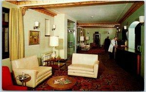 Milwaukee, Wisconsin Postcard PLAZA MOTOR HOTEL Lobby Scene c1950s Chrome Unused
