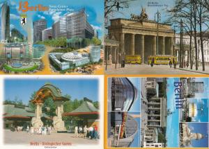 Berlin Zoo Sony Centre At Night Trams 4x German Postcard s