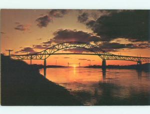 Pre-1980 BRIDGES AT SUNSET Cape Cod Canal - Bourne Massachusetts MA W5374-13
