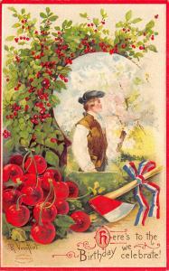 Patriotic~Young George Washington~Cherry Trees~Embossed~Artist R Veenfliet~1908