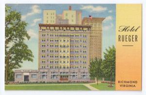 Hotel Rueger Richmond VA Curteich 1941 Linen