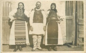 Postcard Romania ethnic type folk costume real photo traditional family dress