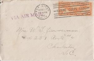 SAN DIEGO CA - MARINE CORPS BASE postal cancel 1938 + letter on #6 envelope