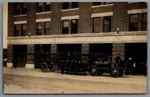 Postcard RPPC Springfield MA c1915 Knox Martin Fire Truck Ladder Firemen Outside
