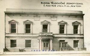 1928 NYC RPPC: Budova Telocvicne Jednoty Sokol, to Czechoslovakia – Rare!