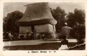 fiji islands, Native Chief's House (1930s) RPPC
