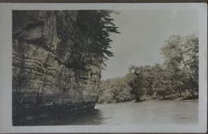 Vintage Real Photograph Postcard Bluff Wall and River 1900's